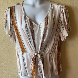 Maurices Stripped Front Tie Top
